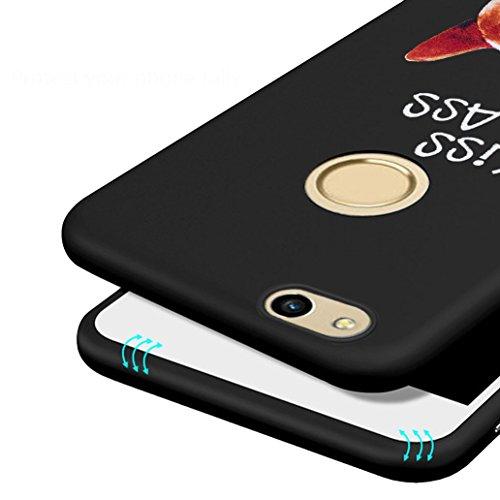 Cover Huawei P8 Lite (2017), Yoowei® 0.8mm Estremamente Sottile Morbido TPU Silicone Gel Gomma Case Posteriore Della Copertura Della Protezione Antiurto Anti-Graffio per Huawei P8 Lite (2017), Nero Lovely Dog