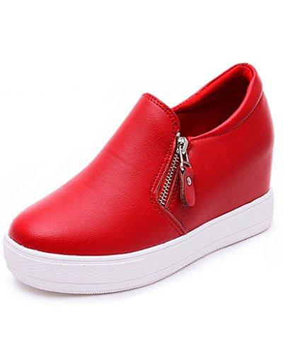 Minetom Femmes Sneaker de Casual Sports Chaussures a Bout Rond Fermeture éclair Plateforme Chaussures