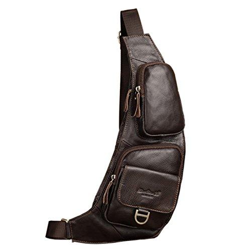 Xieben Vintage Leder Sling Brusttasche Crossbody Pack für Herren Damen Reisen Outdoor Motorrad Fahrrad Schulter Messenger Pack Rucksack Daypack Kaffee -