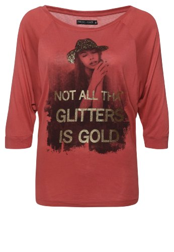 Freshmade Not All Glitters Is Gold Damen Top Pink soft red