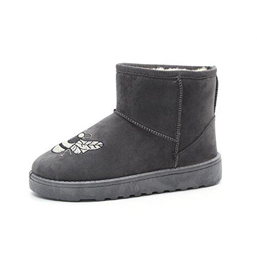 Nubuck inverno stivaletti in Scarpe rosa tacco donna di stivali Black grigio cadono Snow pelle Babbucce casual abbigliamento da nero Boots piatto Comfort HSXZ SxYZqnXn