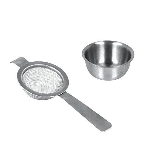 Metaltex 253803010 Teesieb mit Ablage, 2 Einheiten, Inox/Edelstahl, silber, 2,7 x 9,5 x 22,6 cm