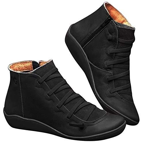 YONEER Botines de Cuero Otoño Vintage con Cordones Zapatos de...