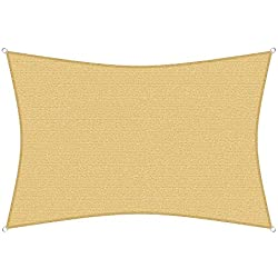 sunprotect 83230 Professionnel Voile d'Ombrage, 6 x 4 m, rectangle, beige