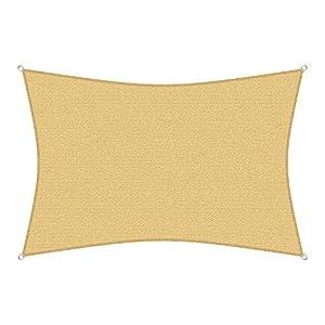 sunprotect 12032 Professional Sonnensegel, 3 x 2 m, Rechteck, Wind- & wasserdurchlässig, beige