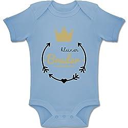 Shirtracer Geschwisterliebe Baby - Kleiner Bruder - Krone - 1/3 Monate - Babyblau - BZ10 - Baby Body Kurzarm für Jungen und Mädchen