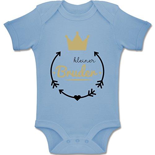 Shirtracer Geschwisterliebe Baby - Kleiner Bruder - Krone - 3-6 Monate - Babyblau - BZ10 - Baby Body Kurzarm Jungen Mädchen -