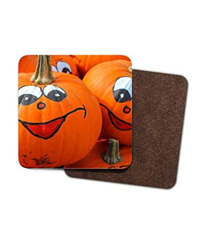 Untersetzer aus Hartfaserplatte, Halloween, Kürbis-Vibes, Jack o Lantern lustige Gesichter, 4 Stück (Lustige Gesicht Halloween-kürbis)