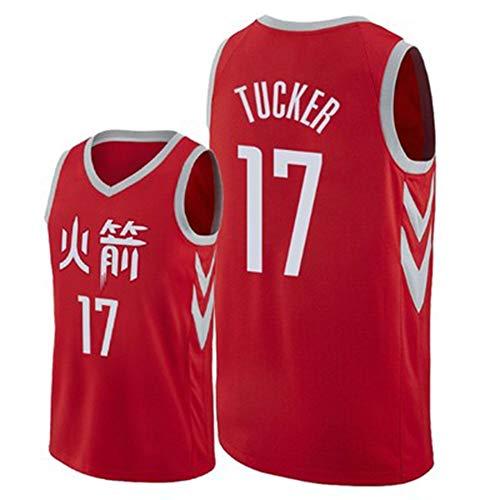 Tank Pj Set (PJ Tucker # 17 Herren Basketball Trikot - NBA Houston Rockets, New Jersey Ärmelloses Shirt,Red(A)-L)