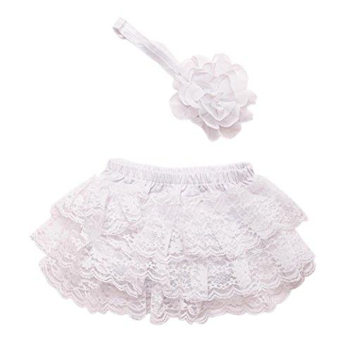 (kingko® Kleinkind Baby Neugeborene 0-3 Monate Lace Set Kleider Foto Prop Jubiläums Outfits Haarband + kurzen Rock (Weiß))