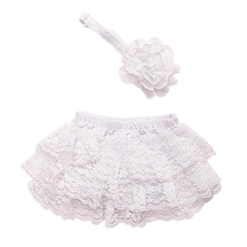 kingko® Kleinkind Baby Neugeborene 0-3 Monate Lace Set Kleider Foto Prop Jubiläums Outfits Haarband + kurzen Rock ()