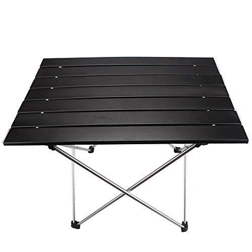P&d tavolo da campeggio pieghevole portatile in lega leggera in lega di alluminio nero, l (22
