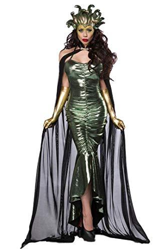 Unbekannt Damen Medusa Fantasy Kostüm Schlangen Verkleidung aus Kleid, Maske, mit Cape und Handschuhen in grün schwarz eng Wetlook M