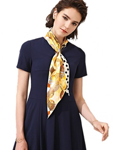 prettystern Gemusterter Damen 2-lagig Skinny Schmaler Seidenschal Frühling Sommer Tuch Seidenband Krawattenschal M4