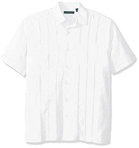 Cubavera Herren Short-Sleeve Two Pocket Tuck Button Down Hemd, Bright White, Groß -