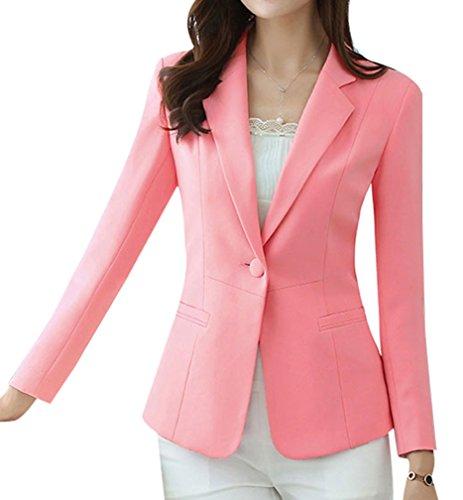 Yasong Women Long Sleeve Plain Casual Work Formal Suit Jacket Blazer