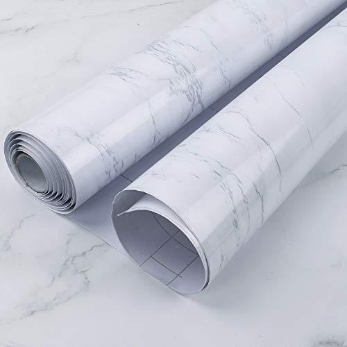 CDWERD Marmor Folie Selbstklebende Grau Weiss 45cmX300cm Klebefolie PVC Vinyl Klebefolie Küche, Fensterbank Folie, Klebefolie Marmor, Marmor Tapeten für Wände, Türen, Möbel