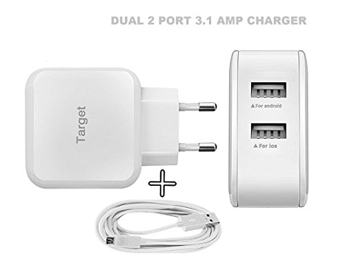 MobileGabbar Samsung Galaxy Grand I9082 Mobile Fast Charger With Cable Compatible Dual Port 3.1 Amp-White  available at amazon for Rs.299