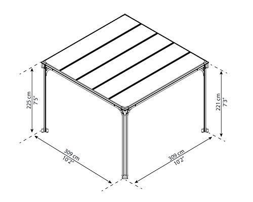 Aluminium Pavillon Überdachung Gazebo Milano 300 308×308 cm // Sommer-Pavillon und Garrtenpavillon mit 6mm Doppelstegplatten - 6