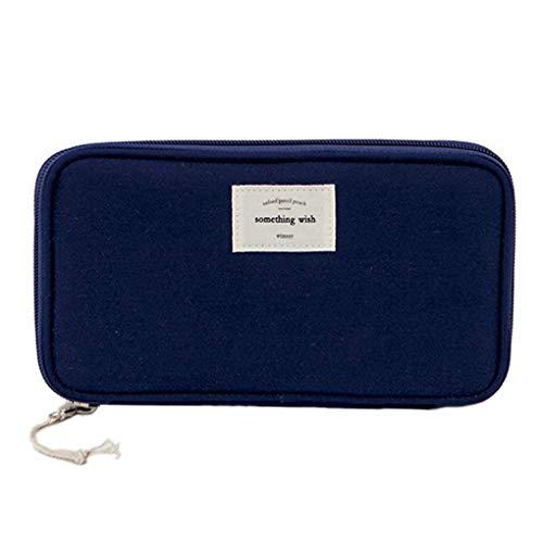 Rolin Roly Mäppchen Wasserdicht Federmäppchen Groß Pencil Case Makeup Bag (Dark Blue)