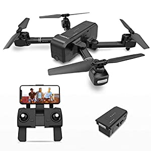 DEERC DE25 Drone with Camera 1080P HD Camera Drone FPV Live Video and GPS Auto Return Compact RC Quadcopter for Beginners and Professionals, Long Flight 16 Minutes