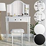 MIADOMODO Coiffeuse Table de Maquillage - 80/40/136cm Blanc ou Noir 3 Miroirs et Tabouret - Meuble, Femme, Moderne