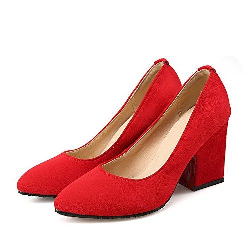VogueZone009 Donna Plastica Scarpe A Punta Punta Chiusa Tacco Alto Tirare Puro Ballerine Rosso