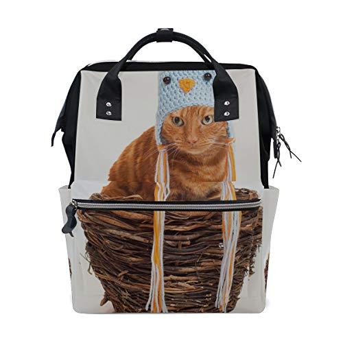 Streifen Katze Lustige Hut Große Kapazität Windel Taschen Mummy Rucksack Multi Funktionen Wickeltasche Tasche Handtasche Für Kinder Baby Care Travel Täglichen Frauen
