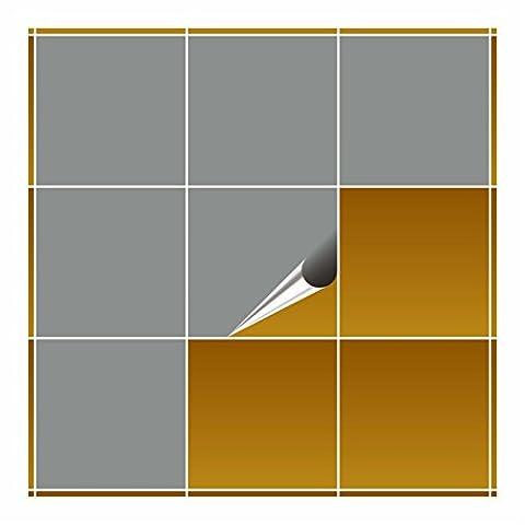 FoLIESEN Carrelage Adhésif pour cuisine et salle de bain–Gris moyen brillant 20x 20cm–Lot de 20