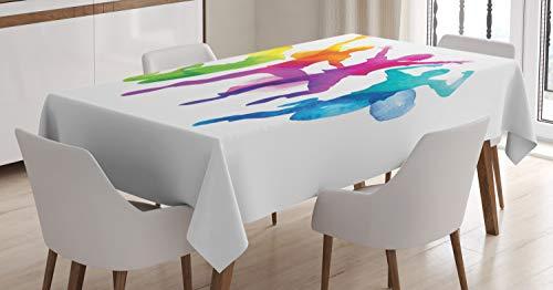 ABAKUHAUS Jugend Tischdecke, Regenbogen farbige Teenager, Für den Inn und Outdoor Bereich geeignet Waschbar Druck Klar Kein Verblassen, 140 x 170 cm, Mehrfarbig (Regenbogen-farbigen Tischdecken)
