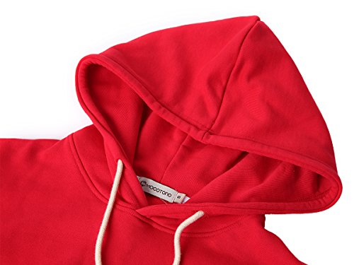Mocotono Herren Kapuzenpullover 2in1 Oversize Loose Hoodie mit Super Quaität Rot