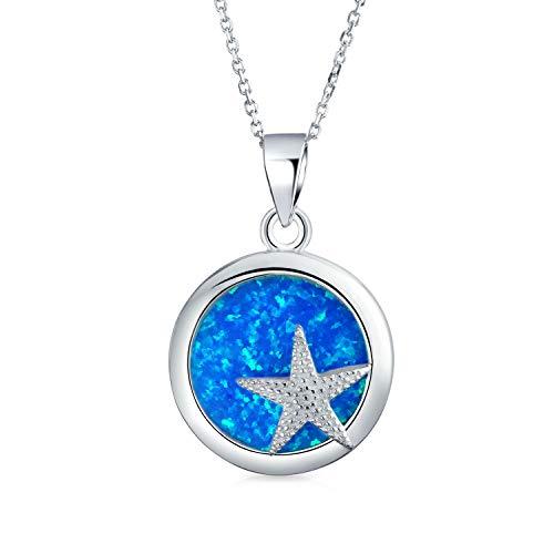 Bling Jewelry synthetische Blue Opal nautische Starfish Anhänger Stweling Silber Halskette 18 Zoll