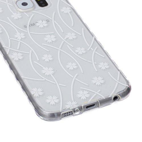 Ekakashop Coque pour Samsung Galaxy S6 SM-G920F, Ultra Slim-Fit Flexible Souple Housse Etui Back Case Cas en Silicone pour Galaxy S6, Soft Cristal Clair TPU Gel imprimée Couverture Bumper de Protectio Flocon de neige