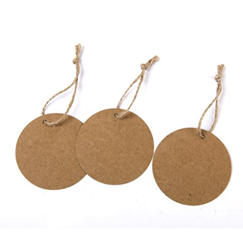 Sharplace 100Stück Set Geschenkanhänger, aus Kraftpapier, mit Band, für Geschenke, Zum Basteln, als Preis Etiketten - Braun Rund, 6 cm 6 Cm Band