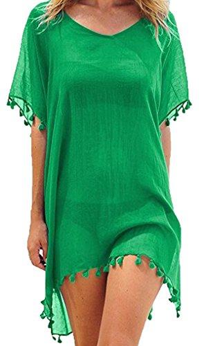 Cindeyar Damen Strandkleid Sommerkleid Bikini Cover up Sommer Bademode Longshirt Tunika Strandponcho (Grün)
