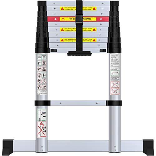WolfWise 3,2M Teleskopleiter mit Stabilisator, Aluminium Ausziehleiter Hohe Mehrzweckleiter, 150 kg Belastbarkeit Schwarz