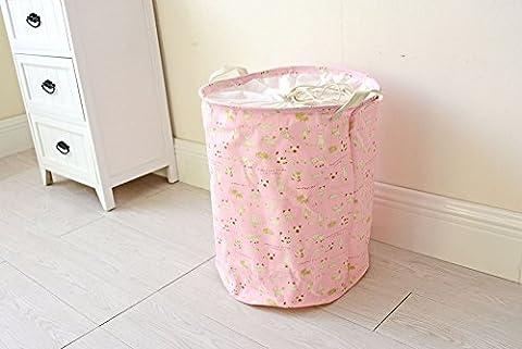 Dushow Grande taille Chat Revêtement imperméable Ramie Tissu de coton Panier à linge pliable Seau Cylindric sur toile en toile de jute Panier de rangement, Red, Taille unique
