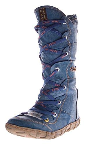 Leder Stiefel TMA Damen Winter Schuhe gefüttert Schwarz Weiß Grün Gelb Rot Braun Blau im used look Blau