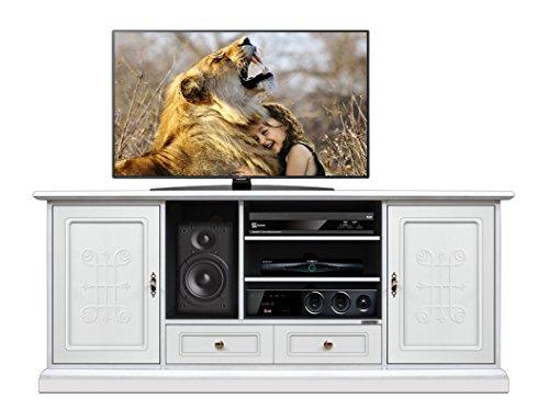 Arteferretto Meuble TV Home cinéma 160 cm en Bois laqué, Portes avec Frises en Bois Naturel, livré monté