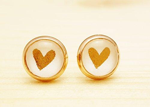 Ohrstecker silberfarben 8 mm – Herz kupfer / bronze - Fassung kupfer / Silber - Cabochon - Valentinstag / Geburtstag / Hochzeit / Love- Handmade (Valentinstag-lauter)