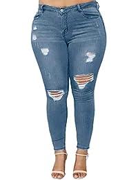 OYSOHE Jeans Damen Große Größe Zerrissene Boyfriend Denim Hose Stretch Slim Fit Hohe Taille Hosen