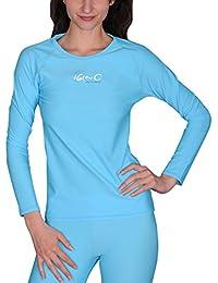 iQ Company UV 300  - Camiseta de protección UV con manga larga de natación para mujer, color turquesa, talla XXL