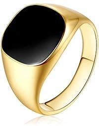 RainBabe Bague Homme Classique Zinc Alliage Noir Bijoux Décoration Original  Numéro 7-12 Cadeau Original 95f7186c383