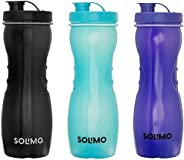 Amazon Brand - Solimo Frigo Plastic Water Bottle Set, Set of 3, 1L, Multicolour