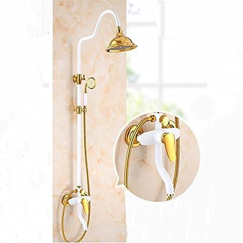 MCC Ensemble de douche, eau froide et chaude, douche à main en laiton et pulvérisateur en laiton supérieur Retro Style Antique Brass White paint gold-plated , D