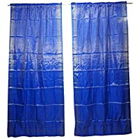 Mogul Interior 2 Indian Sari Curtain Drape Blue Window Treatment Party Decor 96x44