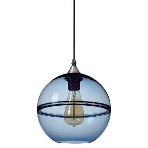 CASAMOTION Mini Pendeleuchte Mundgeblasen Glas Hängelampe, Moderne Optik Hängeleuchte, Blau Glasschirm, Nickel Gebürstet, 23cm Durchmesser
