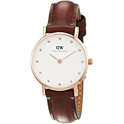 Daniel Wellington Classy St Andrews Women's Quartz Watch with White Dial Analogue Display and Brown Leather Strap 0900DW