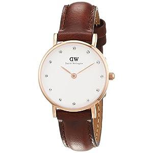 Daniel Wellington 0900DW – Reloj con correa de cuero para mujer, color blanco / gris