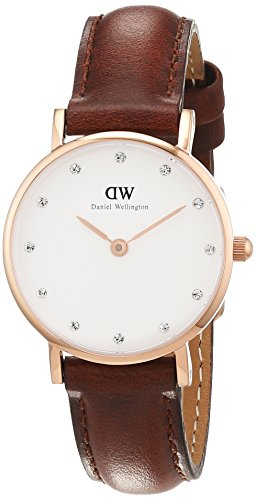 Daniel Wellington 0900DW - Orologio da polso donna, pelle, colore: marrone